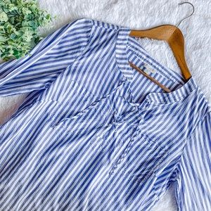 Talbots| Size MP Blue/White Striped Lace Up Blouse